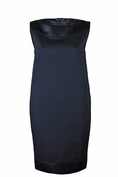 Φόρεμα ίσιο -BATEAU- με φάσες από δερματίνη