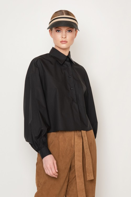 Asymmetrical cotton shirt with pocket, wide sleeves, women's