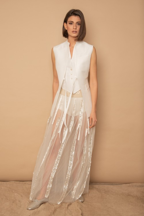 Long tulle skirt with elastic band and sequins stripes
