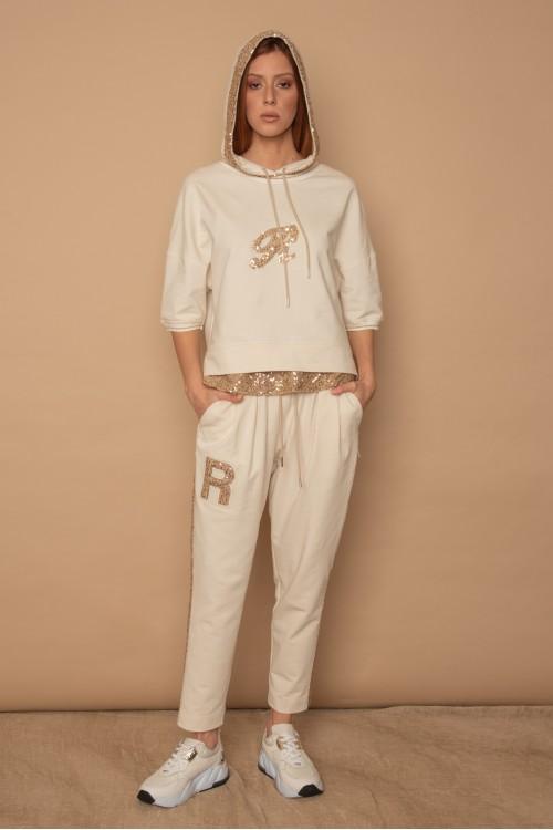 """Μπλούζα φούτερ με παγιέτα στη κουκούλα και """"R"""", γυναικεία"""