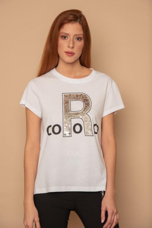 """Μπλούζα μακό κοντομάνικη με μεγάλο """"R"""" με πούλιες, γυναικείο"""