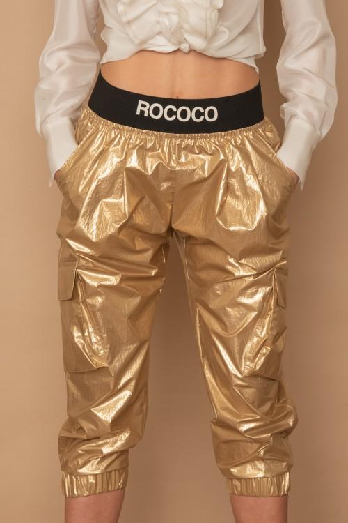 """Παντελόνι μεταλιζέ """"cargo"""" με λάστιχο """"ROCOCO"""", γυναικείο"""