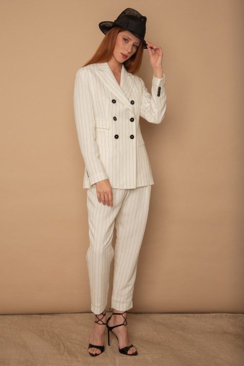 Παντελόνι ριγέ με πιέτες, λοξές τσέπες και ρεβέρ, γυναικείο
