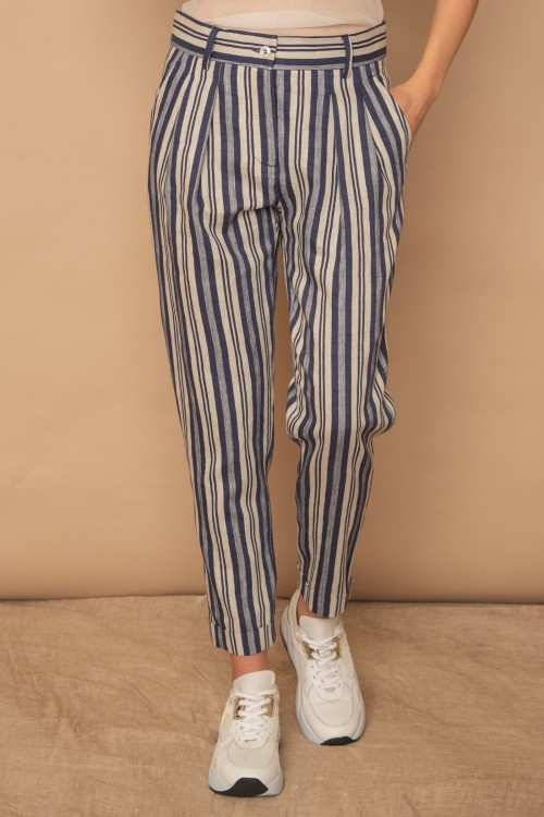 Παντελόνι ριγέ με πιέτες και λοξές τσέπες, γυναικείο