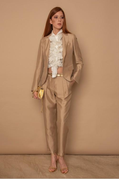 Σακάκι με πέτο γιακά, μοτίφ και άνοιγμα πίσω, γυναικείο