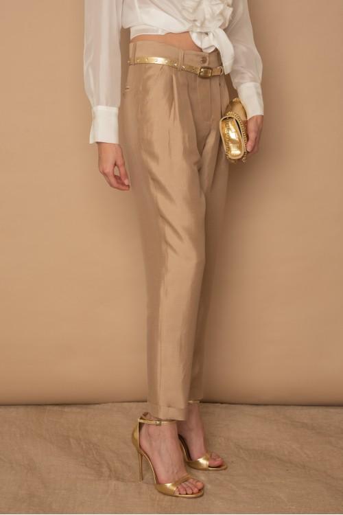Παντελόνι με πιέτες, ρεβέρ και λοξές τσέπες, γυναικείο