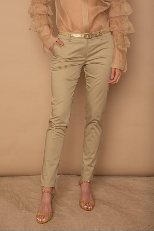 Παντελόνι βαμβακερό ελαστικό στενό με λοξές τσέπες, γυναικείο