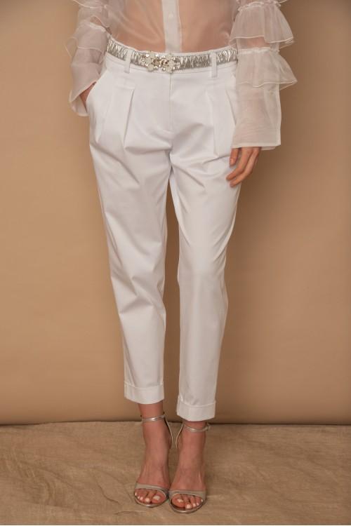 Παντελόνι βαμβακερό με πιέτες, λοξές τσέπες και ρεβέρ, γυναικείο