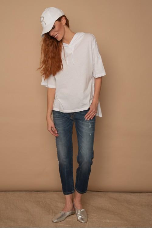 Μπλούζα βαμβακερή ασύμμετρη με κουκούλα, γυναικεία
