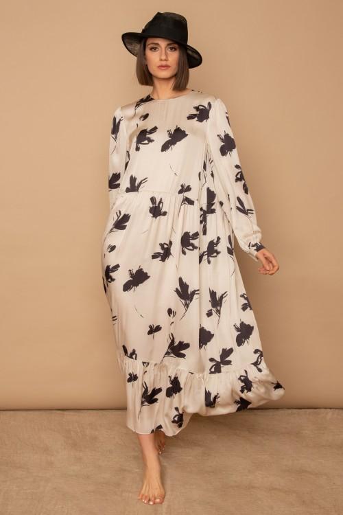 Φόρεμα maxi εμπριμέ με μακρύ μανίκι, λαιμόκοψη και βολάν