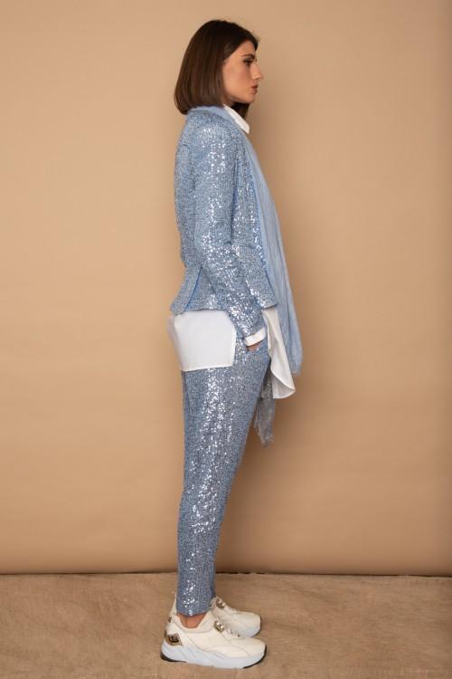 Παντελόνι παγιέτα με πιέτες και σατέν ζωνάκι, γυναικείο