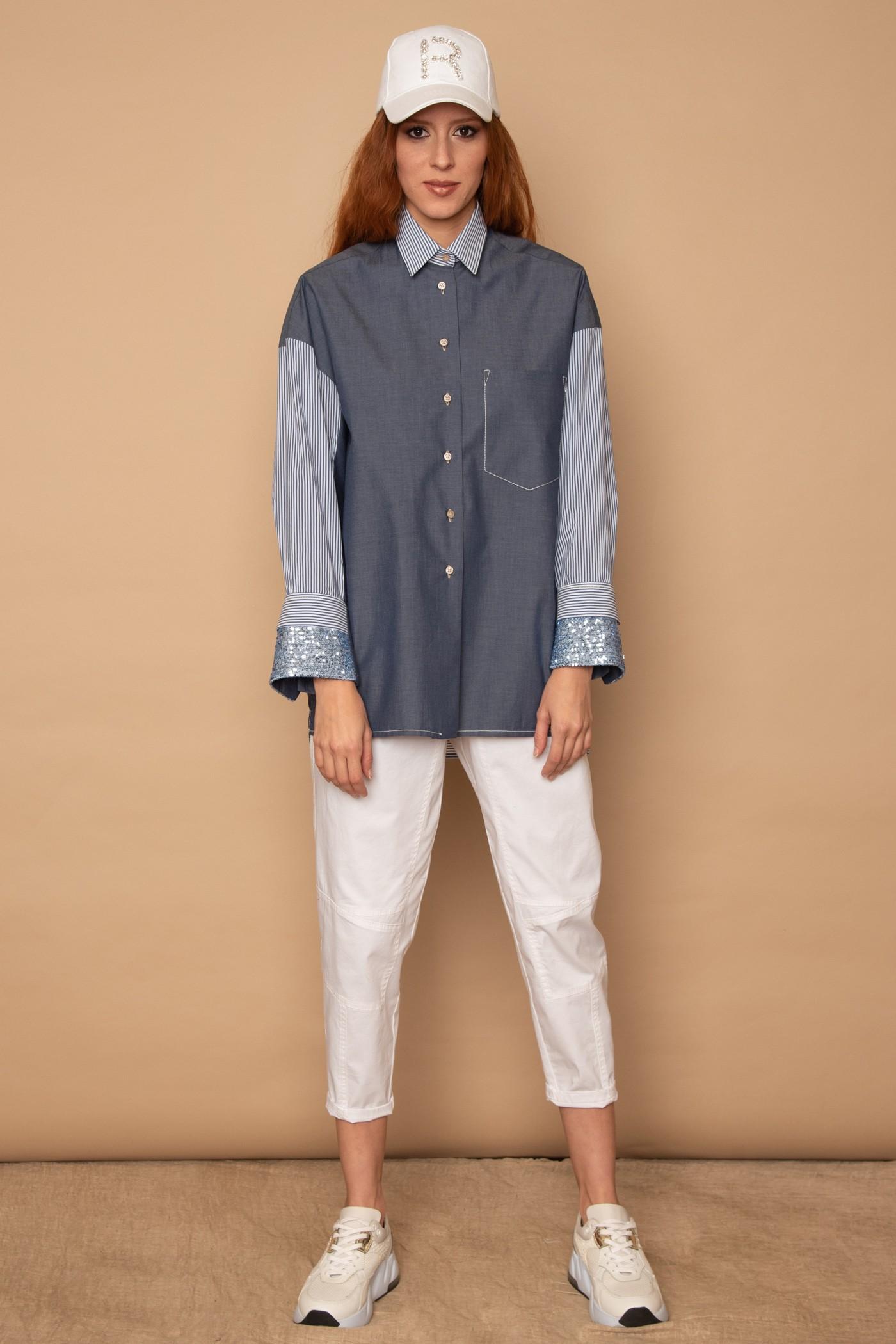 Πουκάμισο jean oversized με ριγέ μανίκια και παγιέτα, γυναικείο