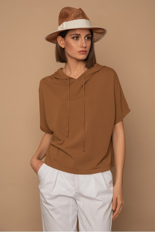 Knitted oversized blouse with short sleeves and hood, women's