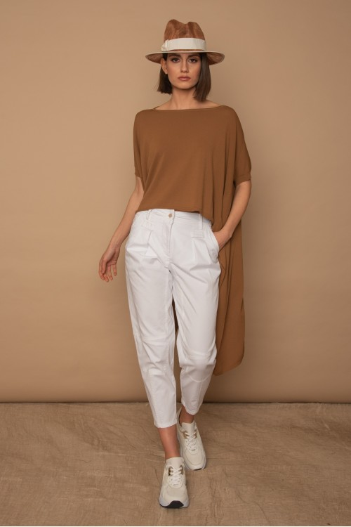 Knitted blouse oversized, asymmetrical with cuts, woman's