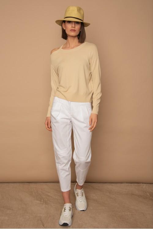 Πλεκτή μπλούζα μακρυμάνικη, με άνοιγμα στον ώμο, γυναικεία