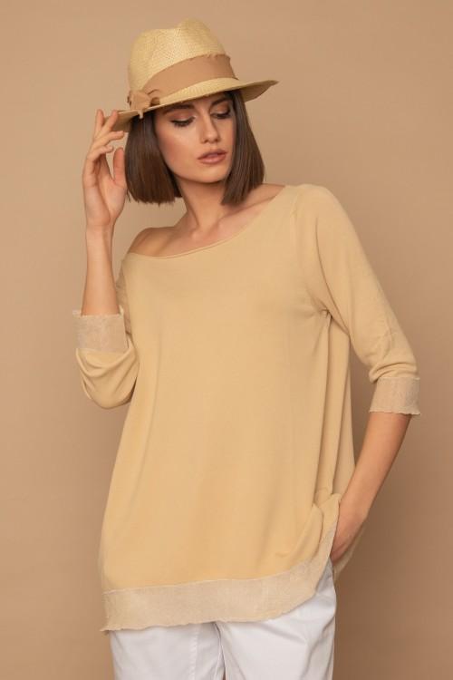 Πλεκτή μπλούζα ίσια με lurex φάσες στο τελείωμα, γυναικεία