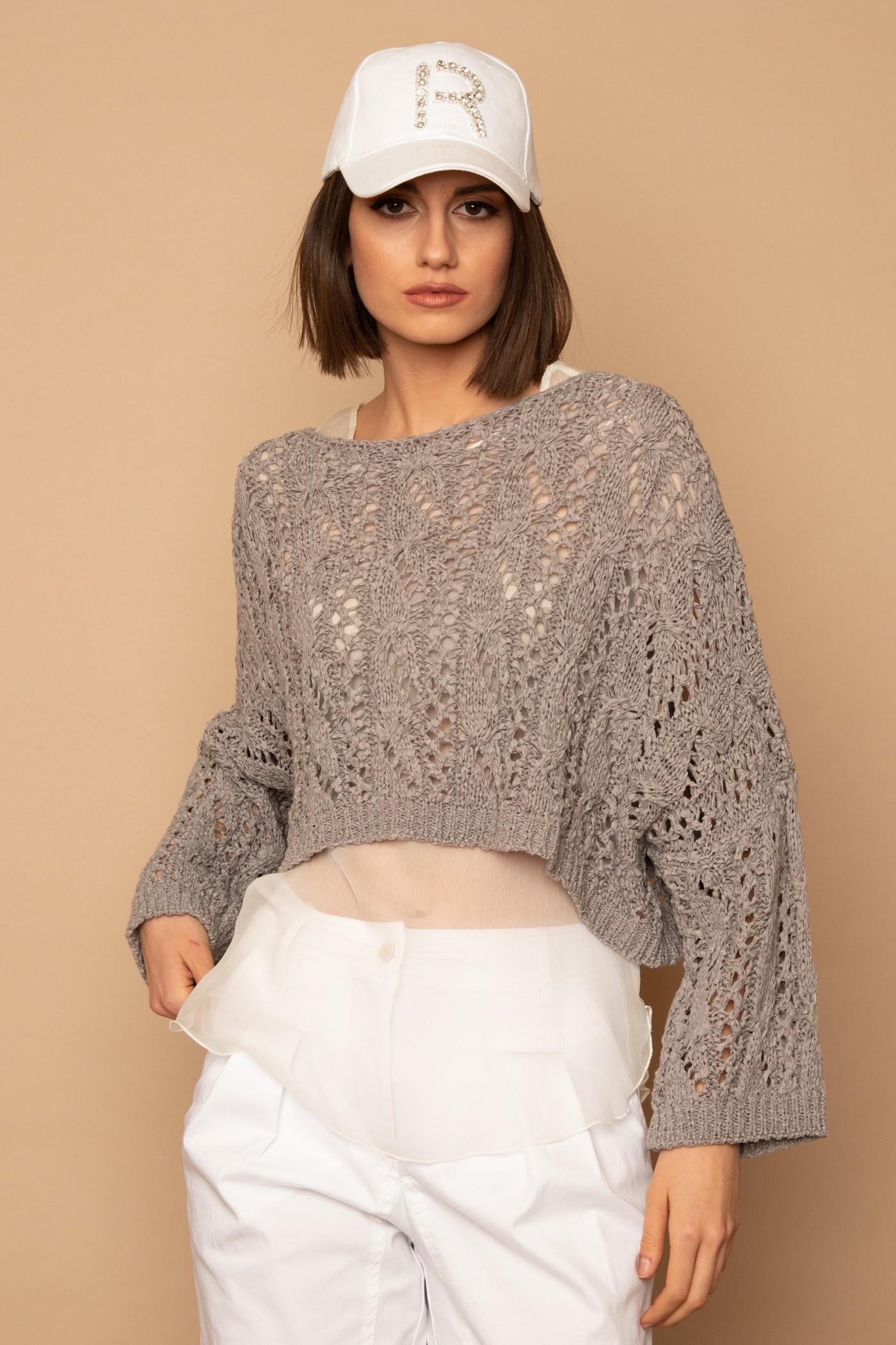 Πλεκτή μπλούζα fetuccia cropped oversized, γυναικεία