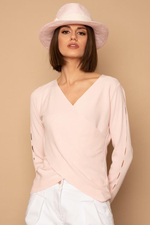 Πλεκτή μπλούζα κρουαζέ με ανοίγματα στο μανίκι, γυναικεία