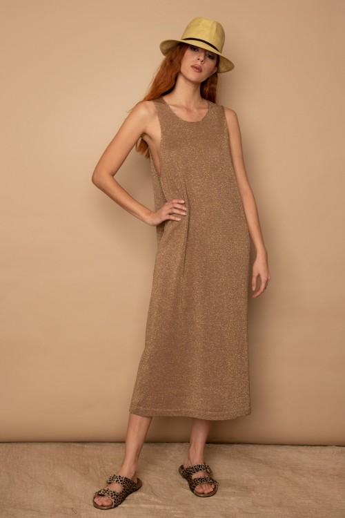 Πλεκτό φόρεμα μακρύ lurex, γυναικείο