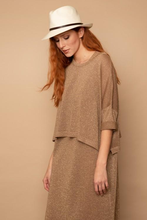 Πλεκτή μπλούζα lurex, oversized, γυναικεία