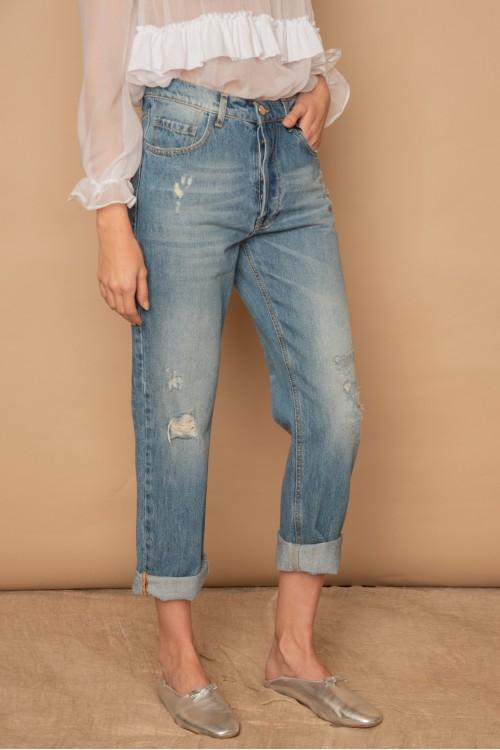 """Παντελόνι jean """"mom fit"""" με φθορές, γυναικείο"""
