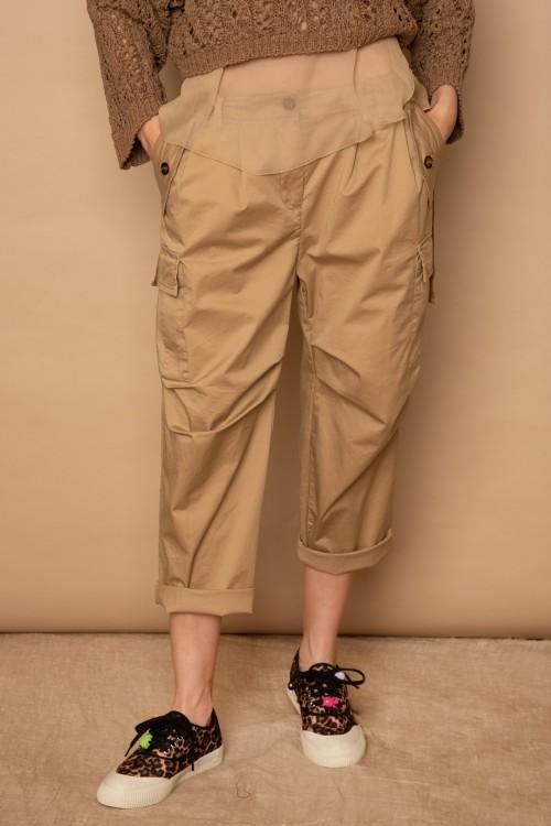 Παντελόνι βαμβακερό CARGO με πιέτες κορδέλες και εγκράφες