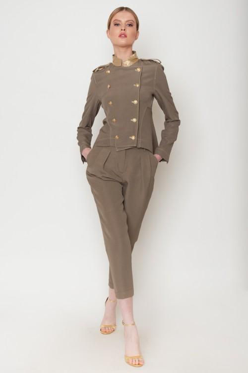 Παντελόνι με πιέτες, λοξές τσέπες και ρεβέρ, γυναικείο