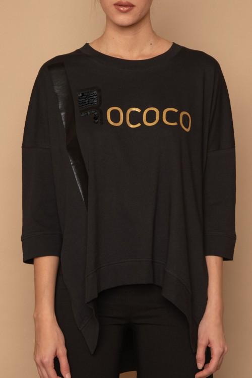 """Μπλούζα μακό oversized με τύπωμα φάσα και """"ROCOCO"""", γυναικεία"""
