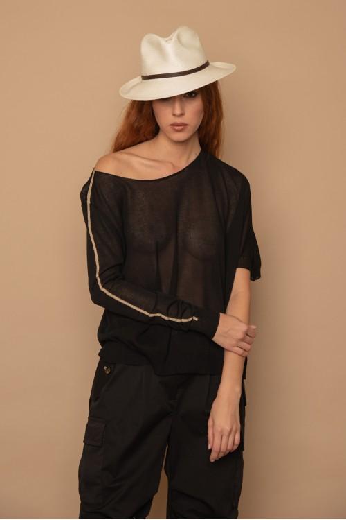 Πλεκτή μπλούζα oversized με ένα μανίκι, γυναικείο