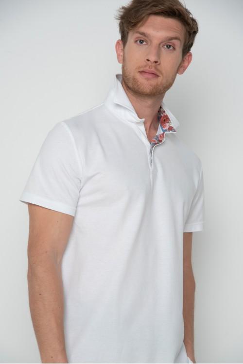 Μπλούζα polo με floral γιακά, ανδρική