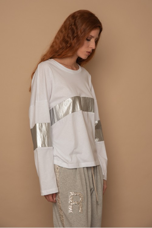 Μπλούζα βαμβακερή με μεταλιζέ φάσες, γυναικεία