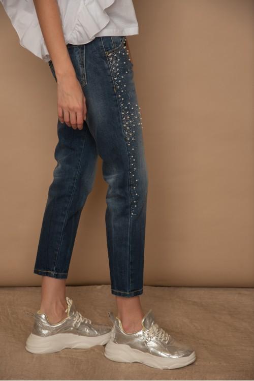 Παντελόνι jean με πέρλες και στρας στο πλάι, γυναικείο