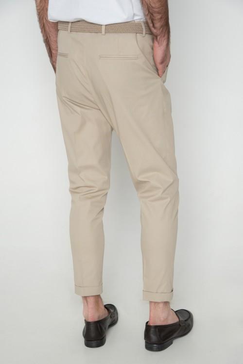 Παντελόνι chinos με ρεβέρ, ανδρικό