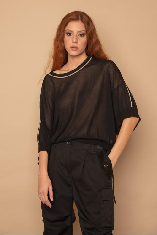Πλεκτή μπλούζα oversized, κοντομάνικη με lurex στη λαιμόκοψη, γυναικεία