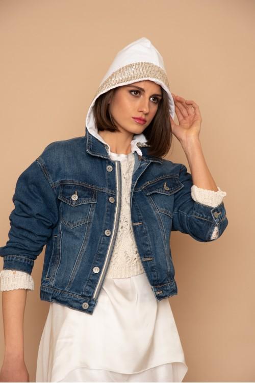 Μπουφάν jean με αποσπώμενη κουκούλα φούτερ και παγιέτα, γυναικείο