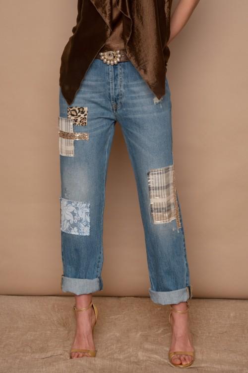 """Παντελόνι Jean με """"patchwork"""", γυναικείο"""