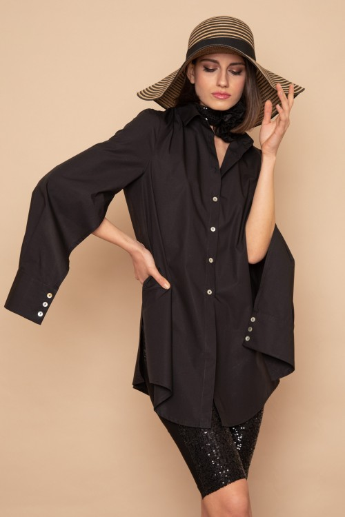 Long shirt with opening on the sleeve, woman's