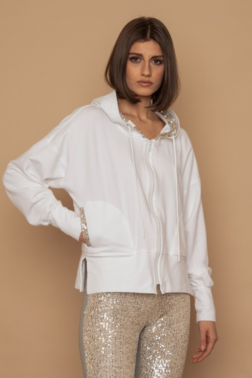 """Jacket with zipper and sequins (pockets & hood with """"R"""")"""