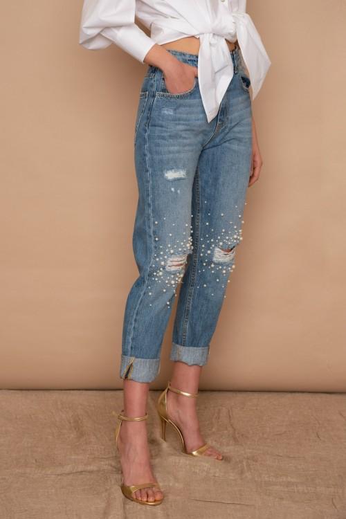 Παντελόνι Jean με σκισίματα και πέρλες στα γόνατα, γυναικείο