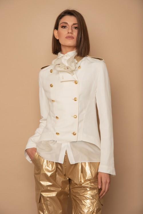 """Σακάκι militaire σταυρωτό με """"ΜΑΟ"""" γιακά και χρυσά κουμπιά, γυναικείο"""