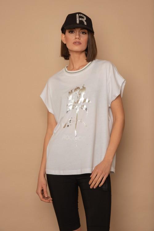 Μπλούζα μακό με τύπωμα τριαντάφυλλο και rib στο λαιμό, γυναικεία