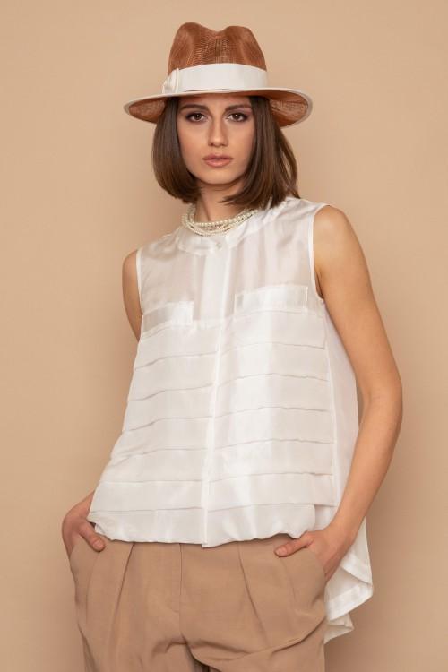 Μπλούζα μεταξωτή αμάνικη με οριζόντιες πιέτες εμπρός, γυναικεία