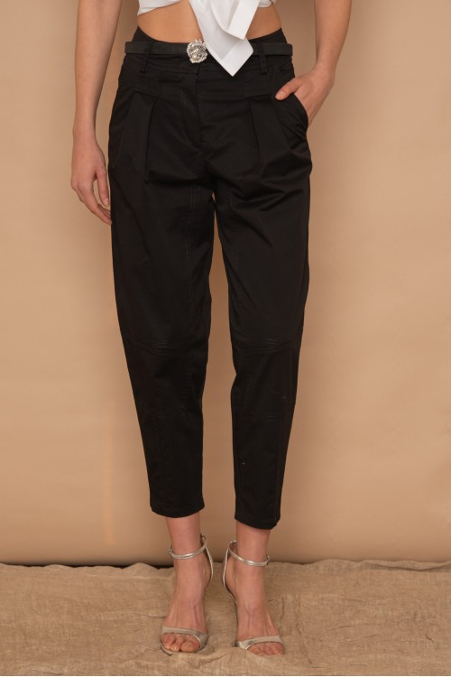 """High waisted """"BAGGY"""" cotton trouser with cuts, women's"""