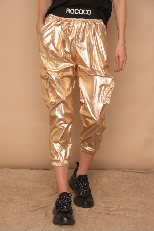 "Metallic ""CARGO"" women's trousers with ROCOCO rubber logo"