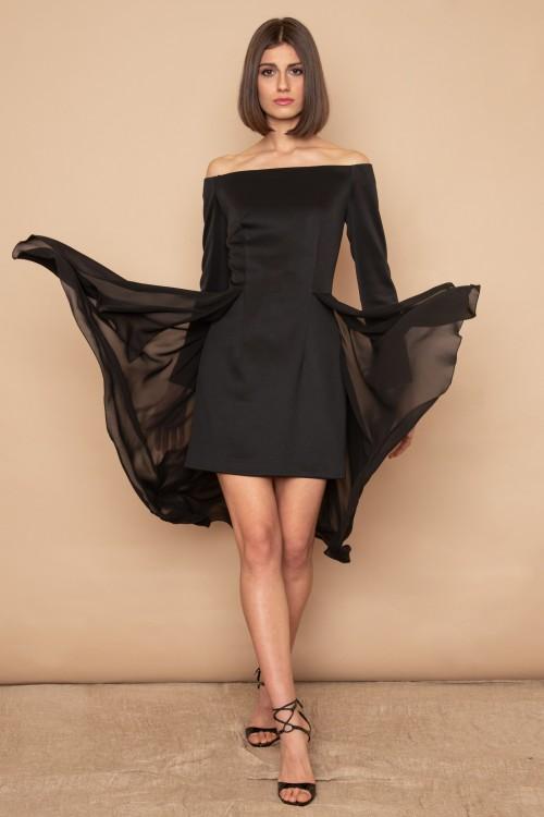 Φόρεμα Pencil, Strapless με μανίκια και φύλλο κρεπόν