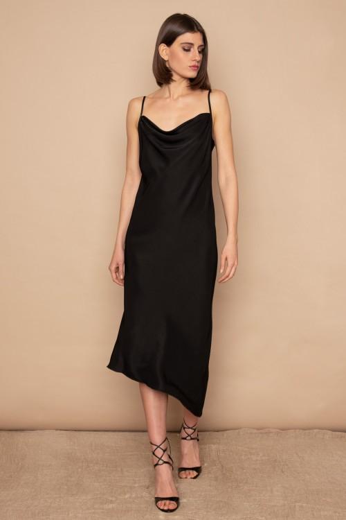 Long asymmetrical dress with straps