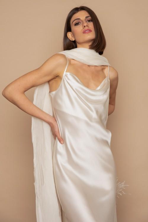 Φόρεμα μακρύ ντραπέ, ασύμμετρο με τιράντες
