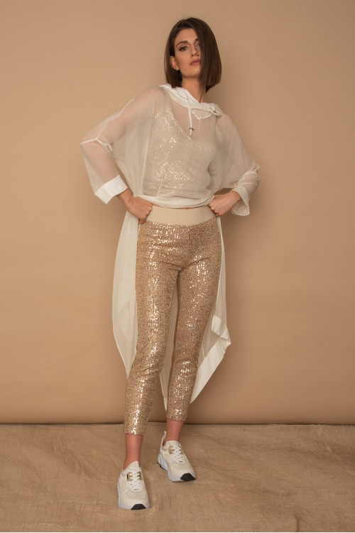 Leggings with sequins front and Jersey back, women's