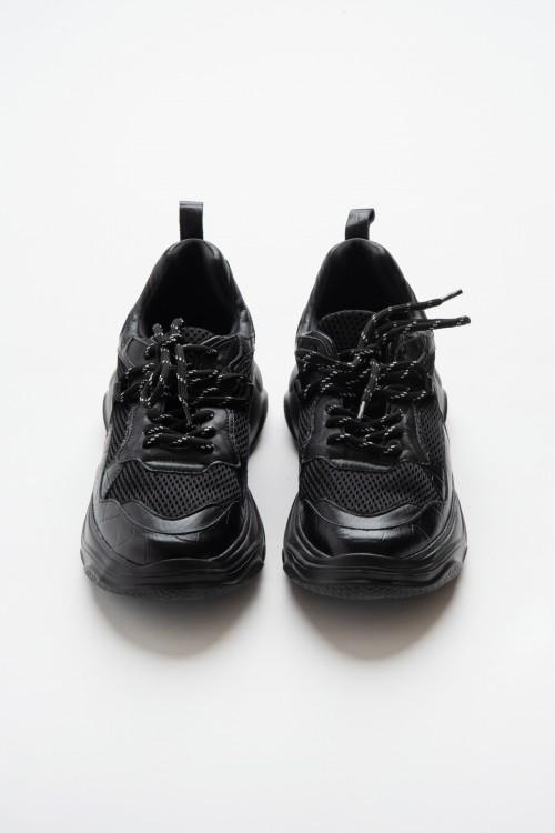 Δερμάτινο Sneaker με δίχτυ και χοντρή σόλα