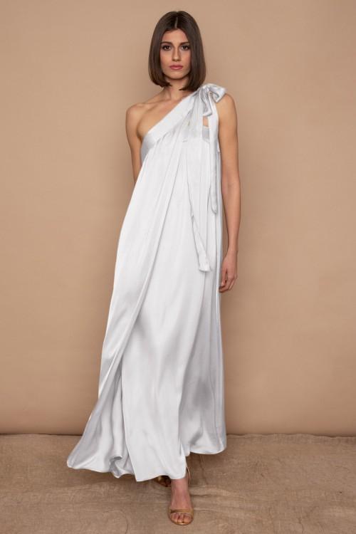 Φόρεμα strapless, μακρύ με δέσιμο στον ώμο